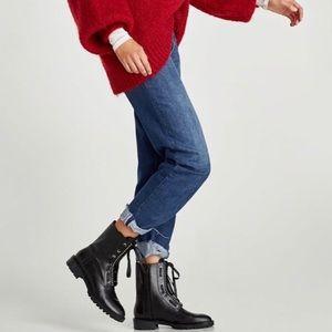 Zara Genuine Leather Combat Boot